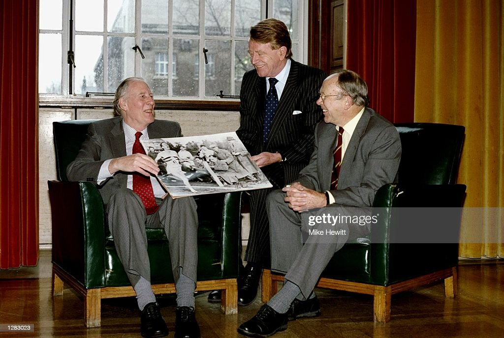 Roger Bannister, Chris Brasher and Chris Chataway celebrate the 40th anniversay of the first Four Minute mile. \ Mandatory Credit: Mike Hewitt/Allsport