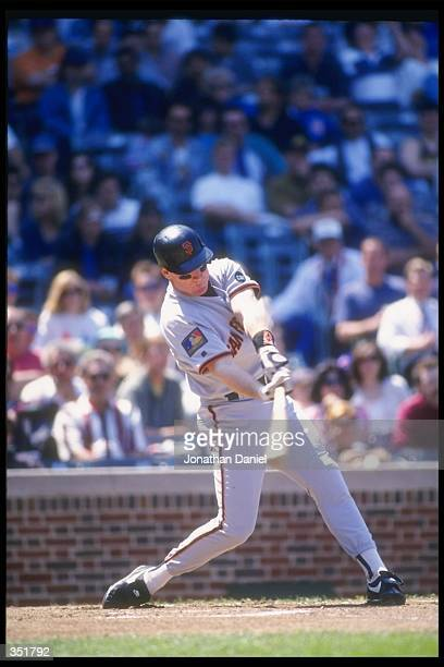 Third baseman Matt Williams of the San Francisco Giants swings at a pitch during the Giants game against the Chicago Cubs at Wrigley Field in Chicago...