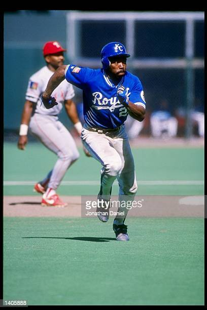 Vince Coleman of the Kansas City Royals in action during a game against the Texas Rangers at Royals Stadium in Kansas City Missouri Mandatory Credit...