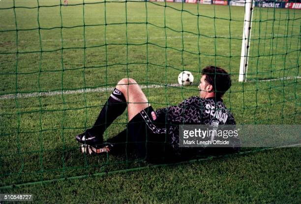 May 1995 - European Cup Winners Cup Final 1995 - Arsenal v Real Zaragoza, Arsenal goalkeeper David Seaman lies in the net with the ball after his...