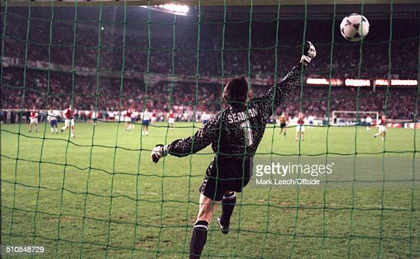 May 1995 - European Cup Winners Cup Final 1995 - Arsenal v Real Zaragoza, Arsenal goalkeeper David Seaman backpedals but fails to save the shot from...