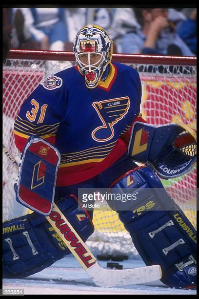 Goaltender Curtis Joseph of the St Louis Blues looks on during a game against the Anaheim Mighty Ducks at Arrowhead Pond in Anaheim California The...