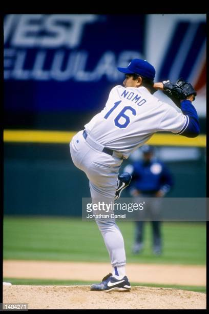 Pitcher Hideo Nomo of the Los Angeles Dodgers winds up for the pitch. Mandatory Credit: Jonathan Daniel /Allsport