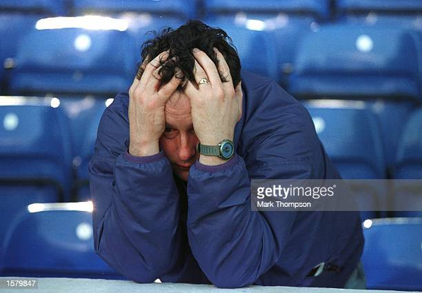 A distraught Manchester City fan shows his feelings as Manchester City can only manage a 22 draw with Liverpool at Maine Road The result meant...
