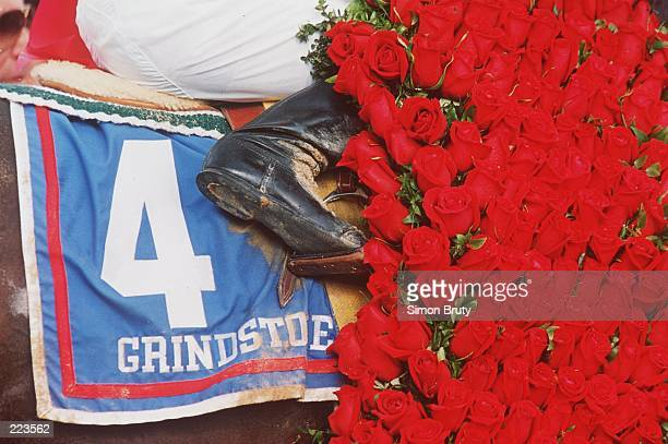 A generic picture of the saddle and wreath of roses around Grindstone after winning the Kentucky Derby in Louisville Kentucky Mandatory Credit Simon...
