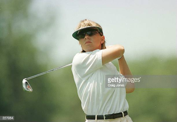 Defending Champion Annika Sorenstam hits her second shot on the second hole during the first round of the US Women''s Open Championship at the Pine...