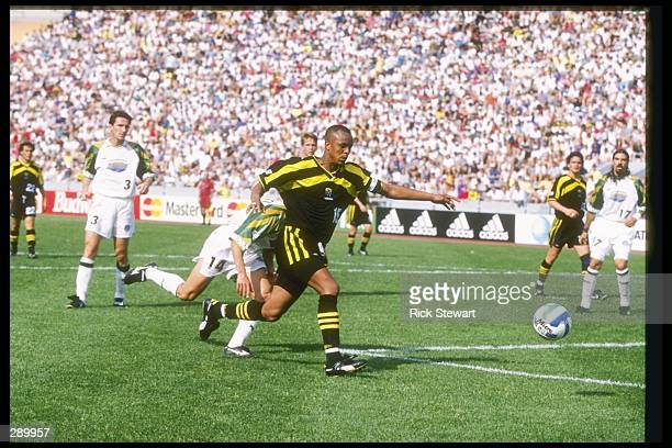 Doctor Khumalo of the Columbus Crew runs down the field during a game against the Colorado Rapids at Ohio Stadium in Columbus Ohio The Rapids won the...