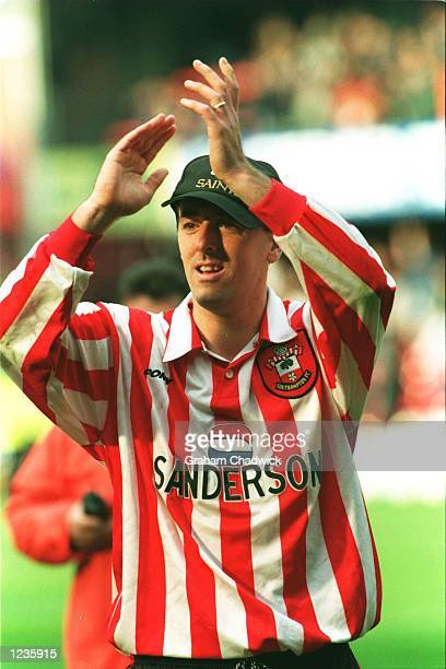 Matthew Le Tissier of Southampton celebrates after the game as Southampton stay in the Premiership during the Premier League match between...
