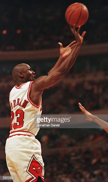 Michael Jordan of the Chicago Bulls puts up a shot during the third quarter of the Bulls 91-84 victory over the New York Knicks in the Eastern...