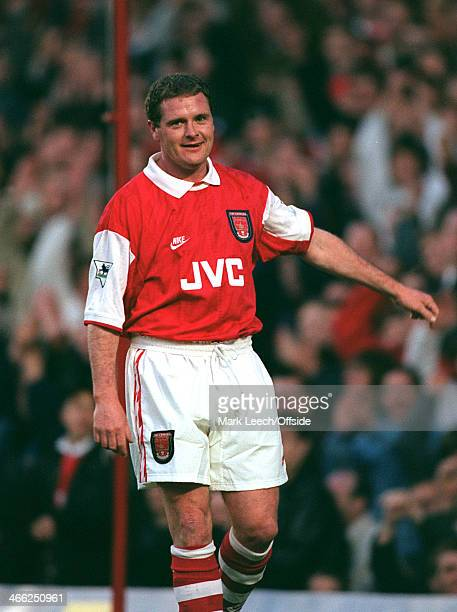 08 May 1996 Paul Merson Testimonial Arsenal XI v International XI Paul Gascoigne of Rangers playing in an Arsenal home kit