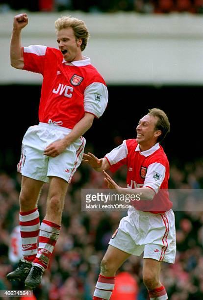 05 May 1996 Premiership Arsenal v Bolton Wanderers Dennis Bergkamp of Arsenal celebrates his goal with teammate David Platt