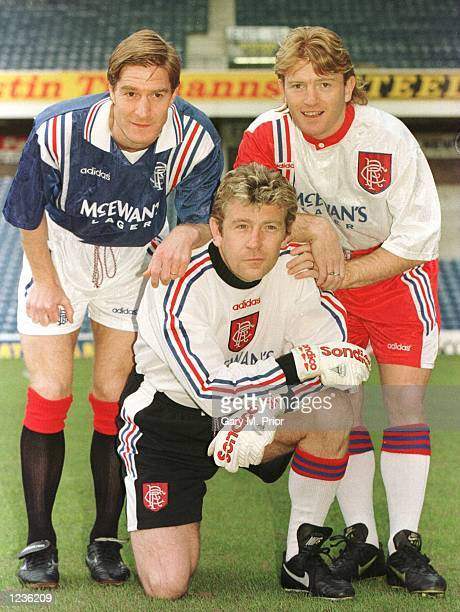 Rangers players Richard Gough Andy Goram and Stuart McCall show off their new Adidas shirts Mandatory Credit Gary M Prior/ALLSPORT