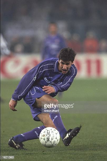 Raul of Real Madrid in action in the match against Juventus in the first leg of the Quarter Final of the European Cup final held in the Stadio del...