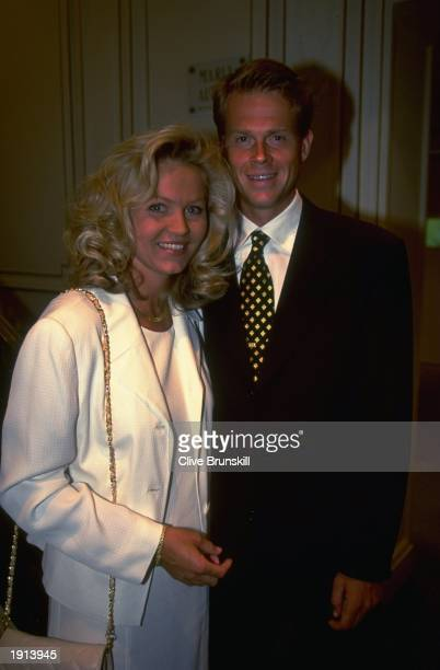 Stefan Edberg of Sweden and his wife Anette at the International Tennis Federation World Champions dinner during the French Open in Paris France...