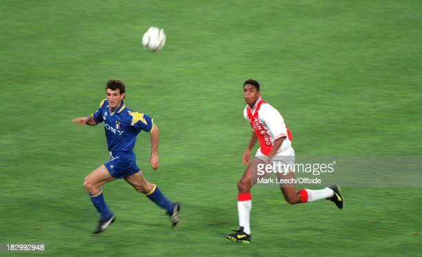 22 May 1996 UEFA Champions League Final Ajax v Juventus Patrick Kluivert of Ajax chases the ball with Ciro Ferrera of Juventus