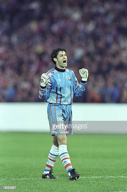 Barcelona goalkeeper Vitor Baia celebrates after his team wins the European Cup Winners Cup final against Paris SaintGermain in Rotterdam Holland...