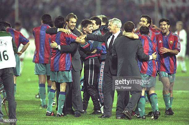 Bobby Robson the manager of Barcelona congratulates his players after their victory in the European Cup Winners Cup Final against Paris St Germain in...