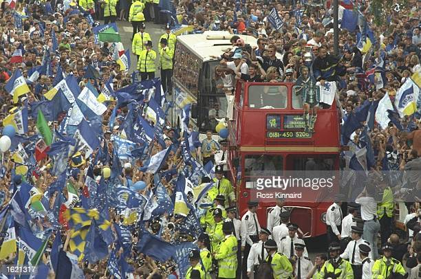 Chelsea Football Club parade through the streets of Chelsea in an open topped bus in front of their supporters to celebrate their 20 victory over...