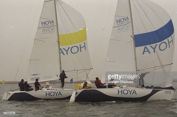 Chris Law of Great Britain keeps Bertrand Pace of France to leeward during the Match Racing Championships of the Hoya Royal Lymington Cup in the...