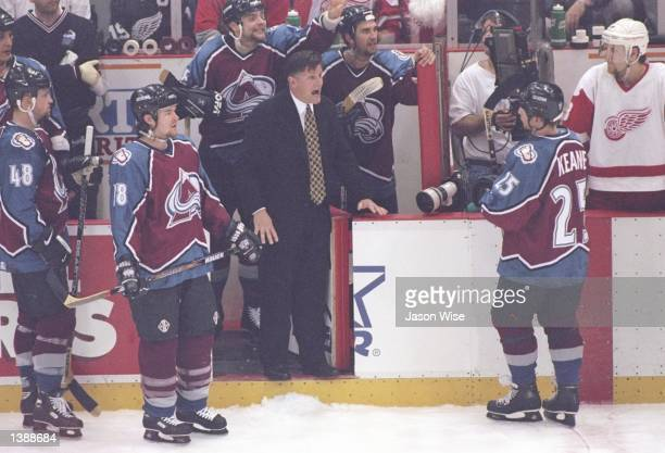 Colorado Avalanche head coach Marc Crawford yells during a playoff game against the Detroit Red Wings at Joe Louis Arena in Detroit Michigan The Red...