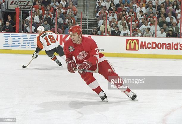 Defenseman Viacheslav Fetisov of the Detroit Red Wings moves down the ice during Game 1 of the Stanley Cup Finals against the Philadelphia Flyers at...