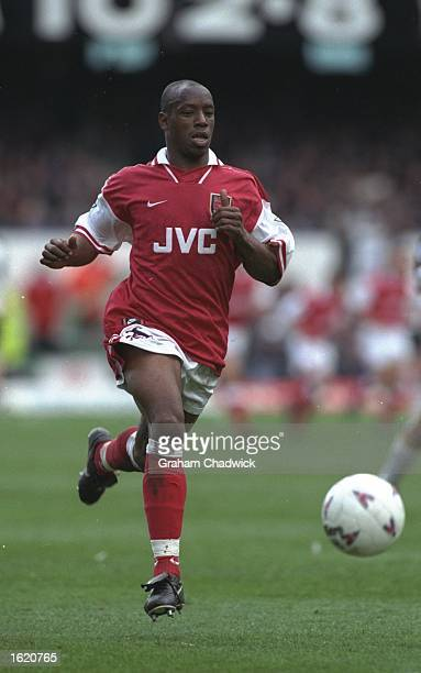 Ian Wright of Arsenal in action during the FA Carling Premier League match against Derby County at the Baseball Ground in Derby England Arsenal won...