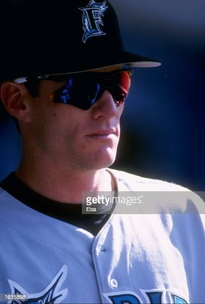 Jeff Conine of the Florida Marlins during the Marlins 53 loss to the Los Angeles Dodgers at Dodger Stadium in Los Angeles California