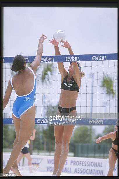 Linda Chisholm and Elaine Roque play close to the net during the WPVA Cybergenics Open at the Disney Wide World of Sports Complex in Orlando Florida...