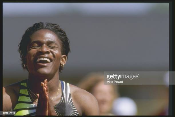 Maria Mutola celebrates after winning the 800 meters at the Prefontaine Classic IAAF Grand Prix at Hayward Field in Eugene Oregon Mandatory Credit...