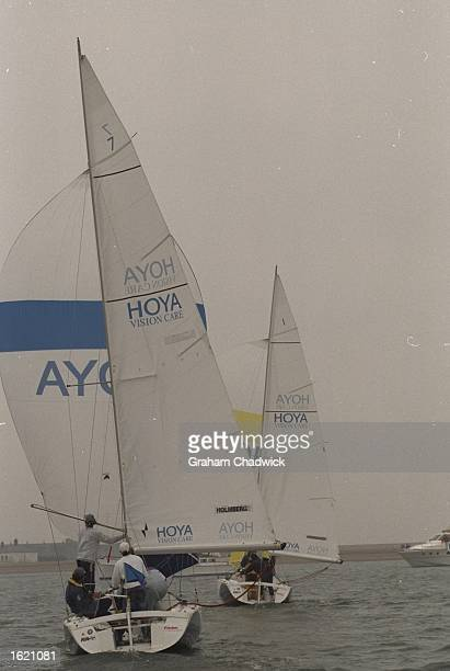 Peter Holmberg of the US Virgin Islands chases Morten Henriksen of Denmark downwind during the Match Racing Championships of the Hoya Royal Lymington...