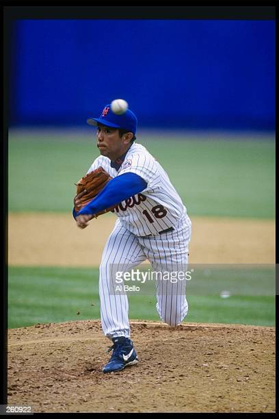 Pitcher Taskashi Kashiwada of the New York Mets throws a pitch during a game against the San Diego Padres at Shea Stadium in Flushing New York The...