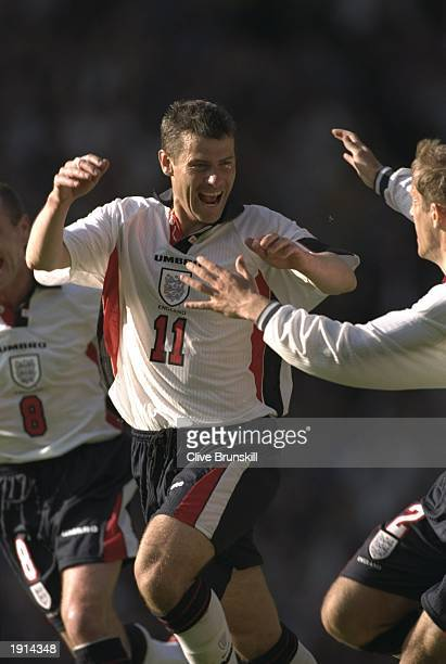 Robert Lee of England celebrates after scoring a goal during the International Friendly against South Africa at Old Trafford in Manchester England...