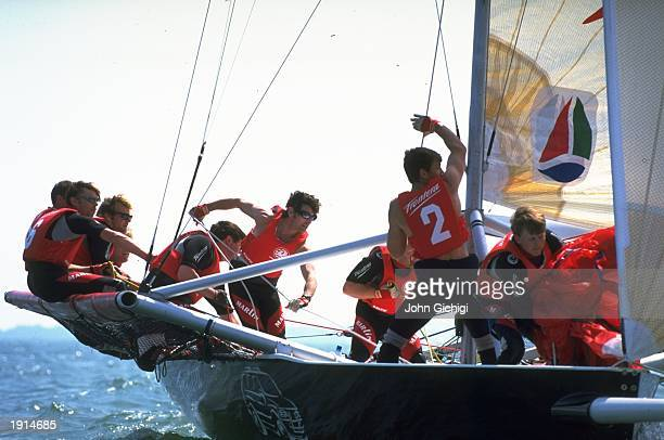 Team Frontera hoist their assymmetric sail at the windward mark during the Frontera Ultra 30 Grand Prix Series off the coast of Portsmouth in England...