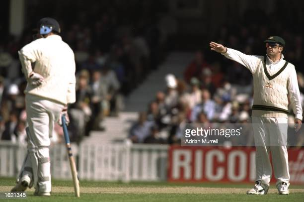 The two captains Mike Atherton of England batting and Mark Taylor of Australia setting the field during the second Texaco One Day International...