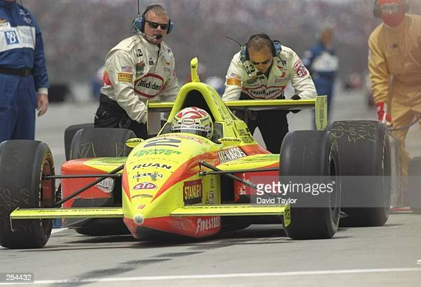 Tony Stewart has his car pushed out of the pit during the Indy 500 at the Indianapolis Speedway in Indianapolis, Indiana.