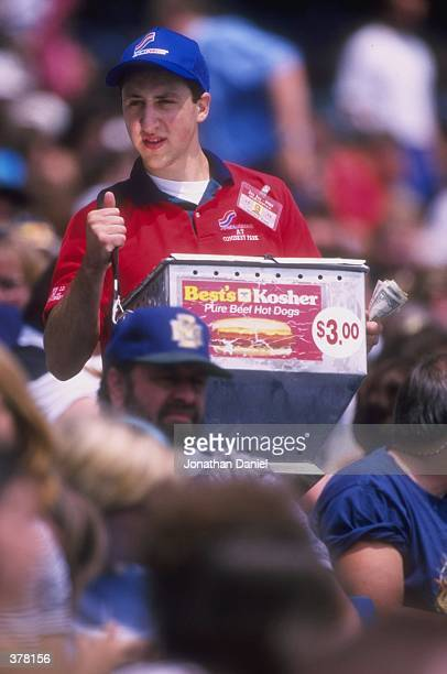 A vendor sells hot dogs during a game between the Detroit Tigers and the Chicago White Sox at the Comiskey Park in Cleveland Ohio The Blue Jays...