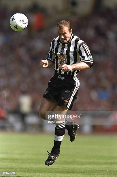 Alan Shearer of Newcastle United in action during the FA Cup final against Arsenal at Wembley Stadium in London Arsenal won the match 20 Mandatory...