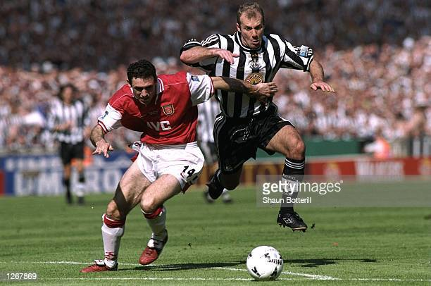 Alan Shearer of Newcastle United takes on Martin Keown of Arsenal during the FA Cup final at Wembley Stadium in London Arsenal won the match 20...