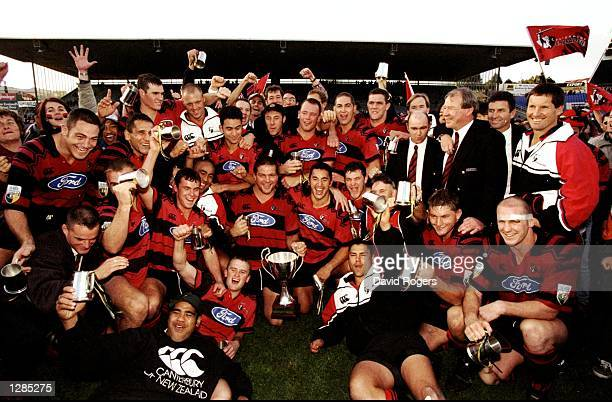 Canterbury Crusaders celebrate victory over Auckland Blues in the Super 12 Final at Eden Park in Auckland, New Zealand. Canterbury won 20-13. \...