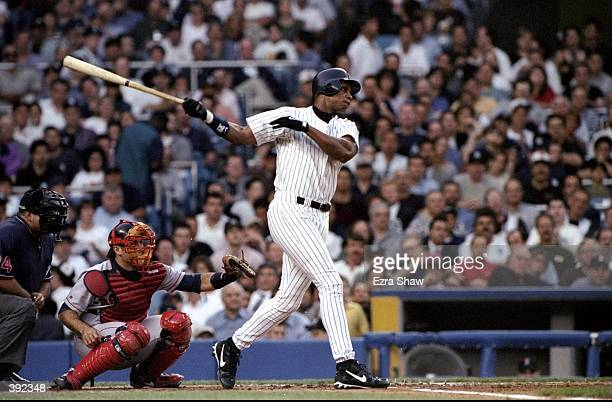 Darryl Strawberry of the New York Yankees in action during a game against the Boston Red Sox at Yankee Stadium in Bronx New York The Yankees defeated...