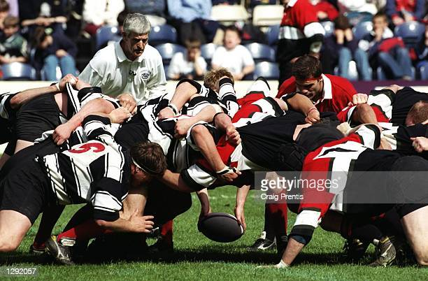Glasgow Hawks and Kelso get down for a scrummage during the Tennents Velvet Cup final at Murrayfield in Edinburgh, Scotland. Glasgow Hawks won the...