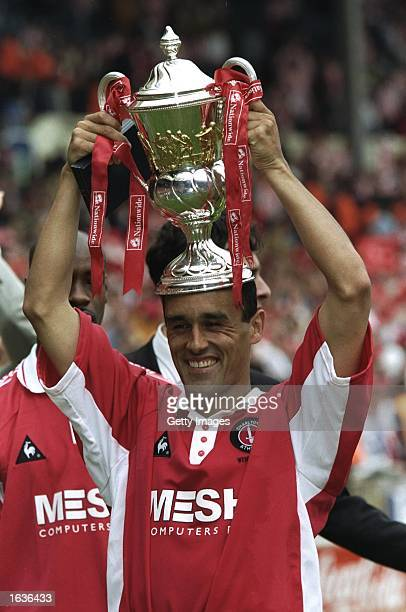''Hattrick hero'' Clive Mendonca of Charlton Athletic holds the trophy on his head after the Nationwide League Division One playoff final against...