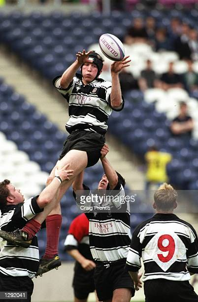 Iain Fullarton of Kelso wins a line-out ball during the Tennents Velvet Cup final against Glasgow Hawks at Murrayfield in Edinburgh, Scotland....