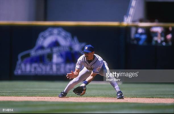 Infielder Jose Valentin of the Milwaukee Brewers in action during a game against the Colorado Rockies at Coors Field in Denver Colorado The Brewers...