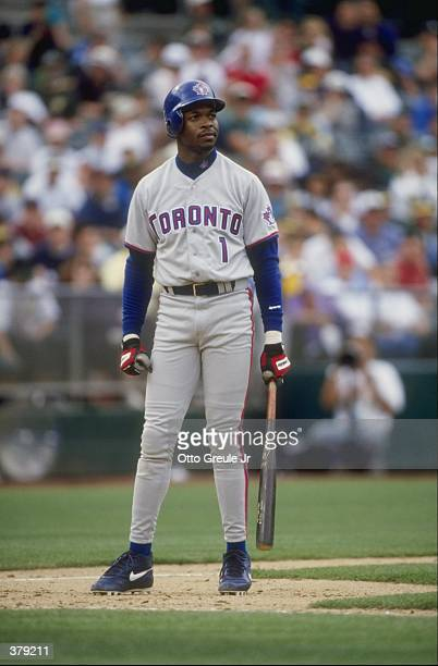 Infielder Tony Fernandez of the Toronto Blue Jays in action during a game against the Oakland Athletics at the Oakland Coliseum in Oakland California...
