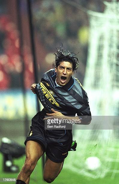 Ivan Zamorano of Inter Milan celebrates after scoring a goal during the UEFA Cup final against Lazio at Parc des Princes in Paris Inter Milan won the...
