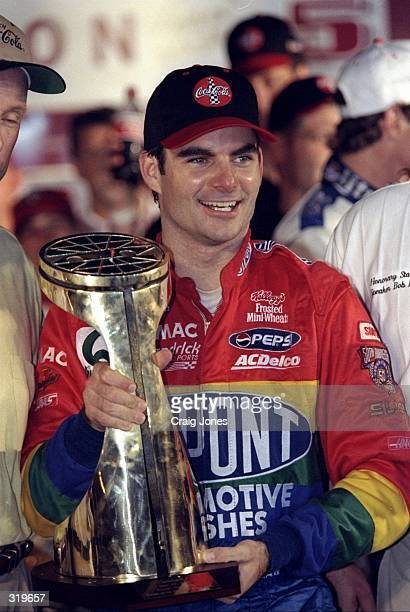 Jeff Gordon celebrates after winning the Nascar Coca Cola 600 at the Charlotte Motor Speedway in Concord North Carolina Mandatory Credit Craig Jones...
