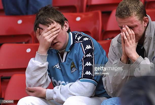 Manchester City fans are in despair at their relegation to Division Two despite winning the Nationwide League Division One match against Stoke City...