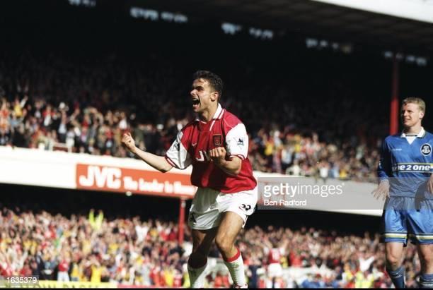 Marc Overmars of Arsenal celebrates scoring during the FA Carling Premiership match against Everton at Highbury in London Arsenal won 40 to secure...