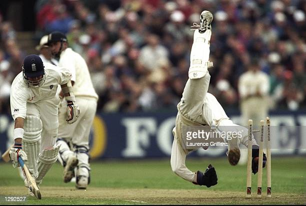 Mark Boucher of South Africa attempts to run out Alec Stewart of England during the second Texaco Trophy One Day International at Old Trafford in...